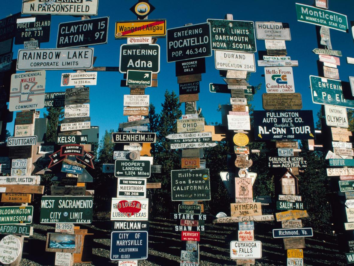 Make sure your bring an item bearing your hometown name for the Sign Post Forest