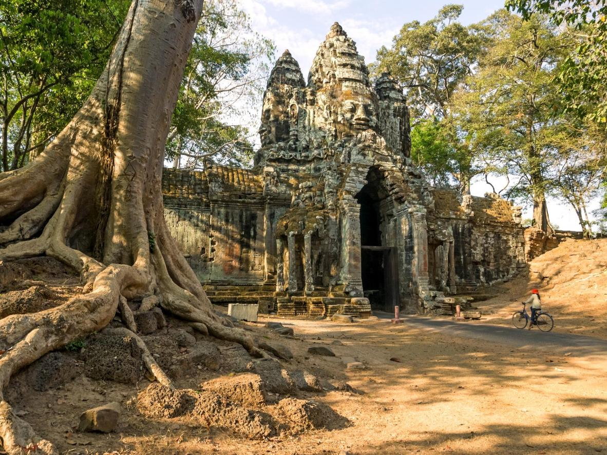 Enter the old city of Angkor Thom in Siem Reap, Cambodia