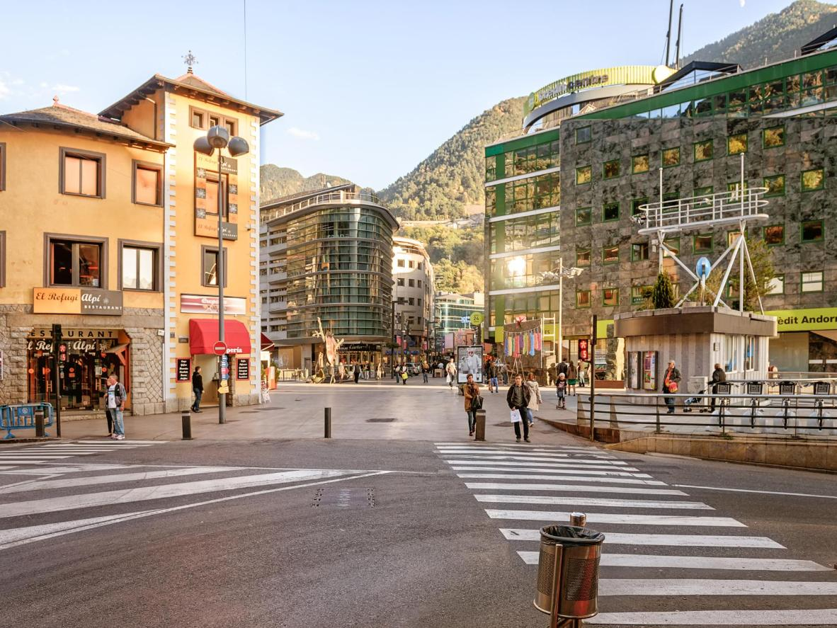 Duty free shopping with mountain views in Andorra la Vella