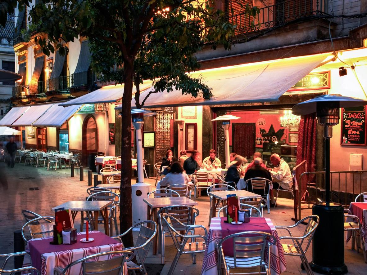 Many sevillanos spend their summer nights socialising on outdoor terraces