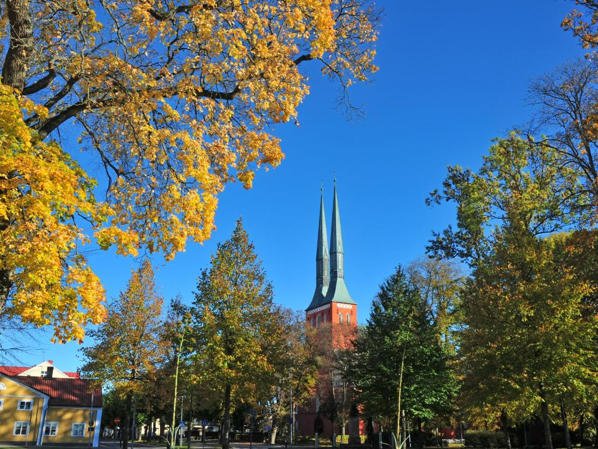 The towers of the Växjö Cathedral