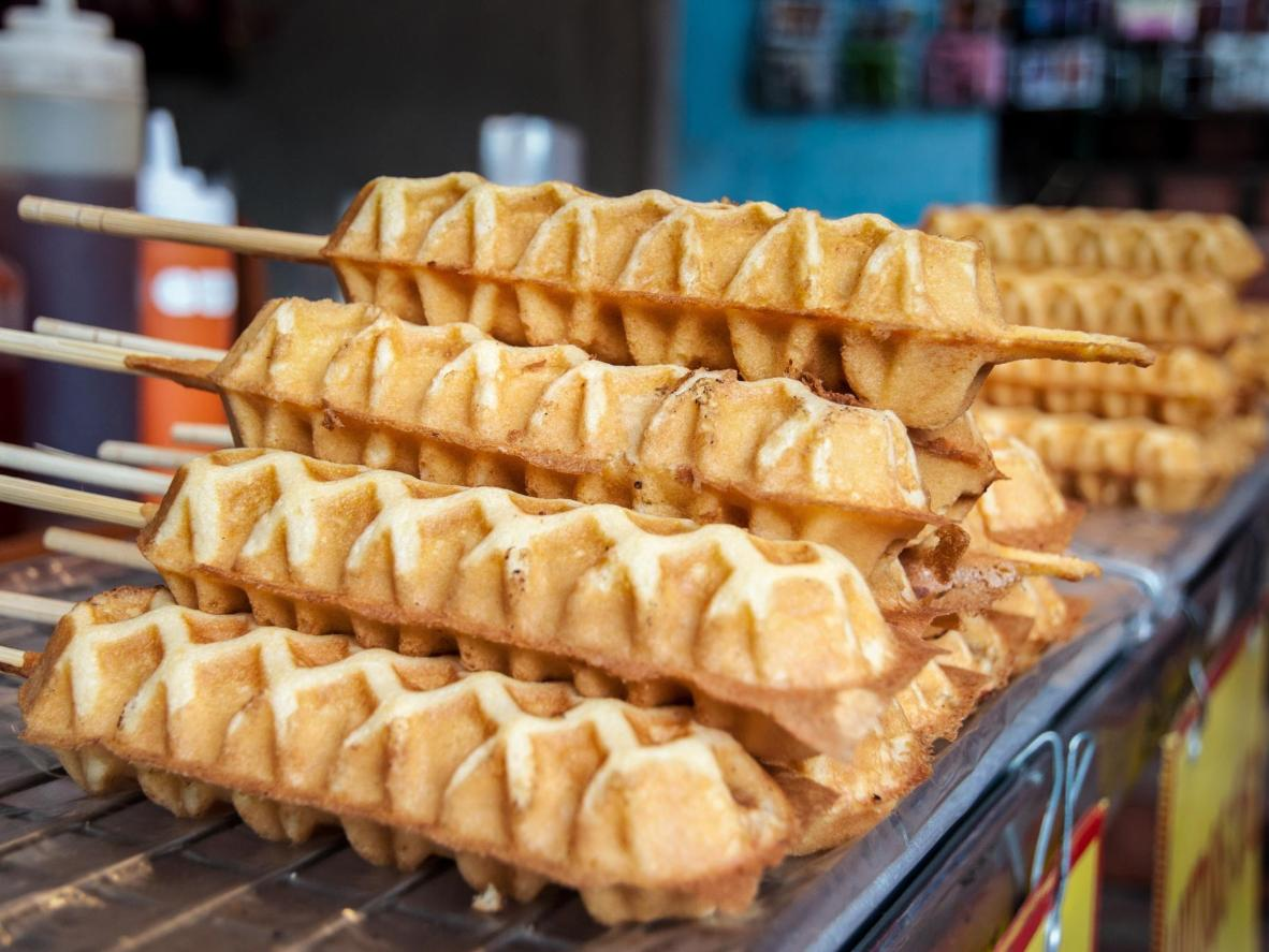 Indulge in deep-fried waffle hotdogs in Manila