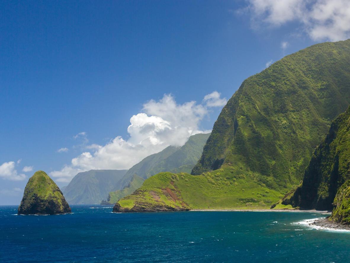 The towering sea cliffs of Molokai