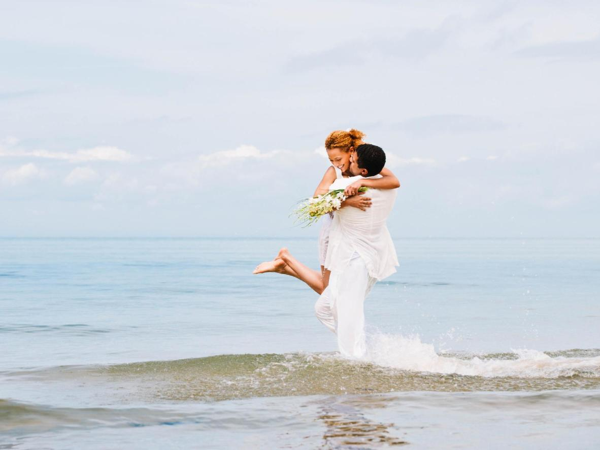 If you're tying the knot during a European winter, try escaping to a white sandy beach instead