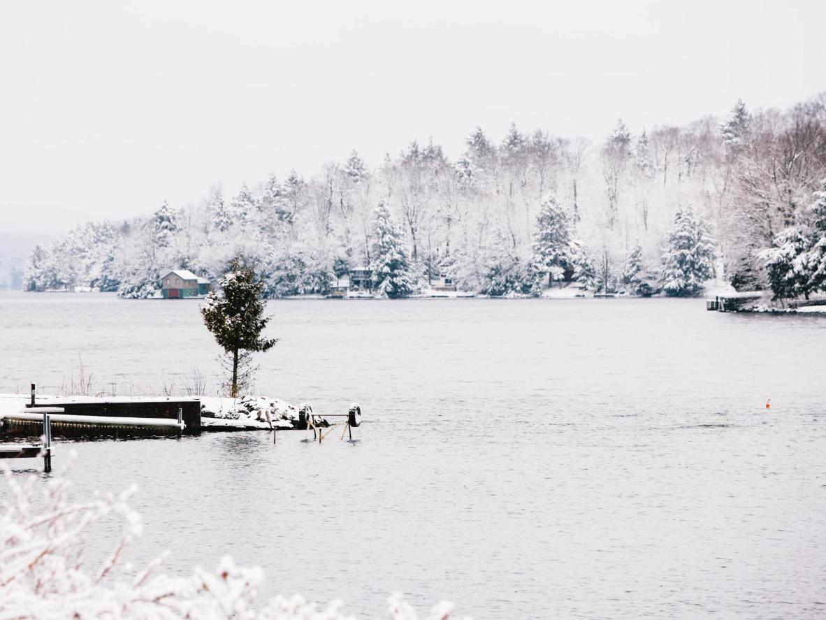 Enjoy a wedding backdrop of snow-covered trees and ice skating on the frozen lake