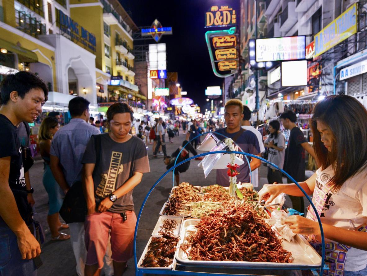 Bangkok's 16,000 street food vendors sell snacks until late at night