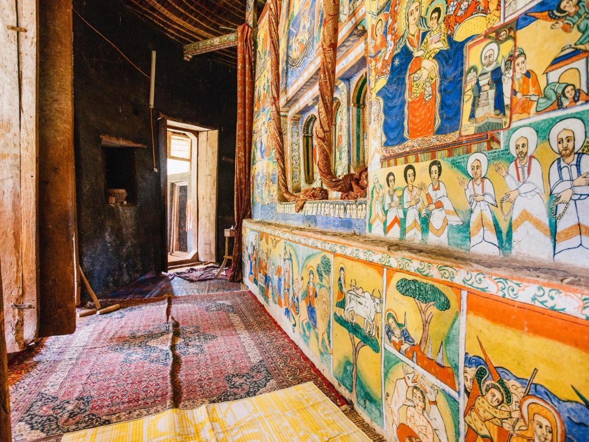 Murals inside the orthodox monastry of Azuwa Maryam