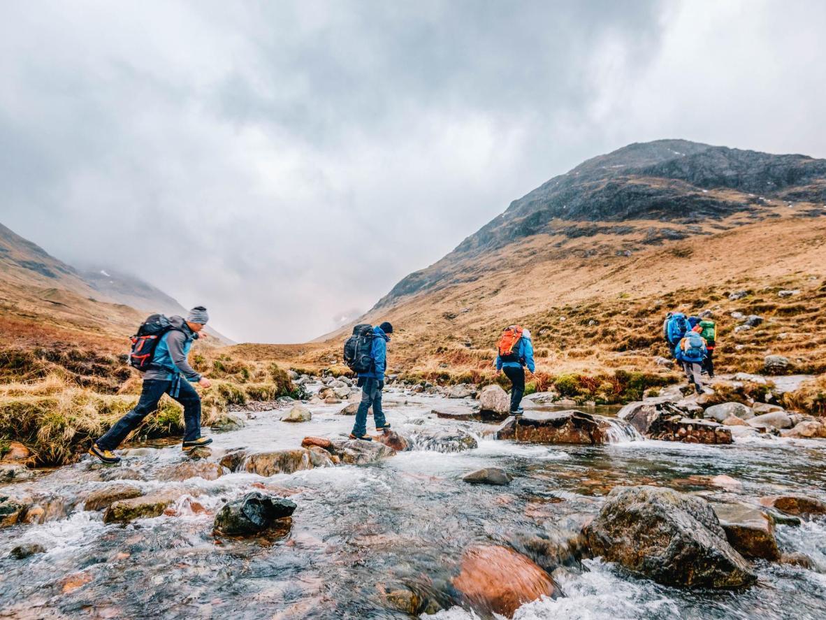 Trekking at Sron na Lairig in Glencoe