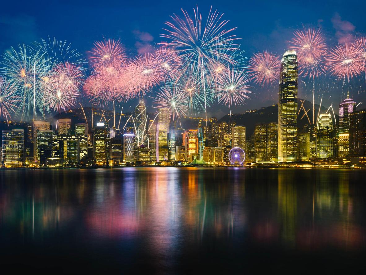The Victoria Harbour fireworks in Hong Kong