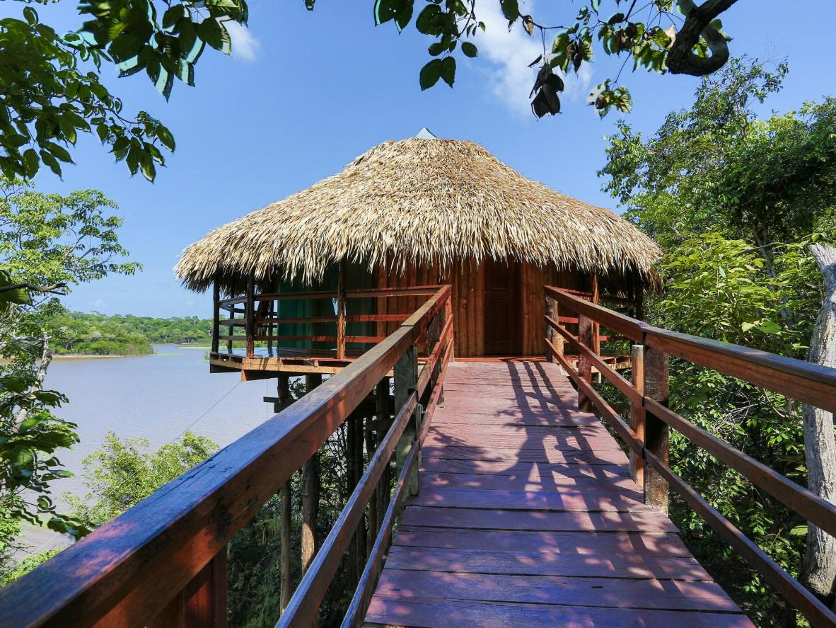 Stay in a bungalow on the edge of Lake Juma in the Amazon