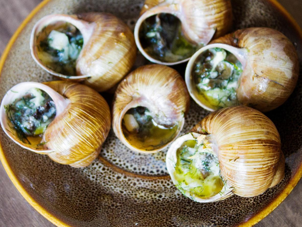 Fried snails in garlic butter