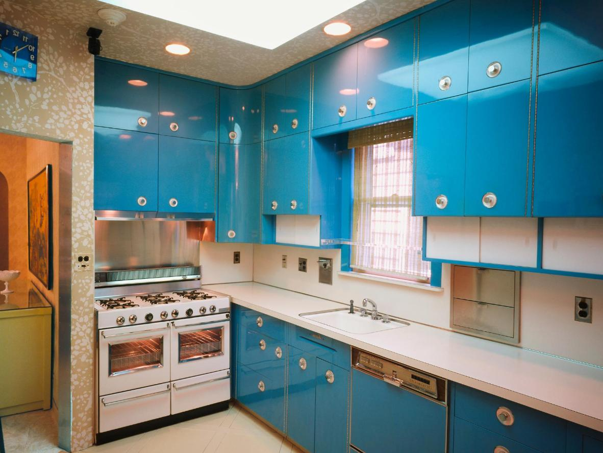 Louis and Lucille Armstrong's electric blue kitchen