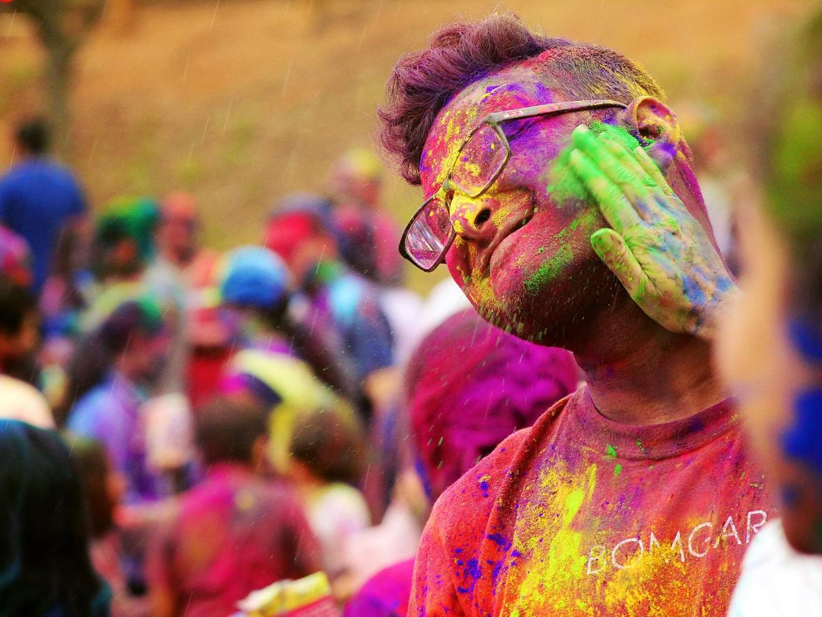 Though March isn't spring in Australia, Holi has become a big celebration here