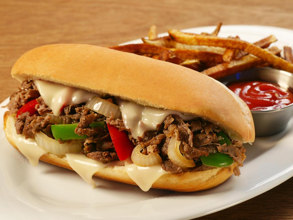 A Philly cheesesteak sandwich