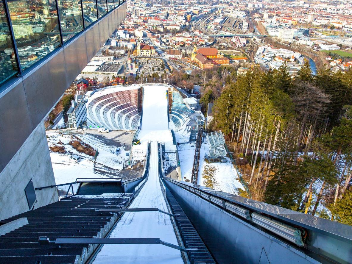 The Bergiselschanze ski jump overlooks Innsbruk
