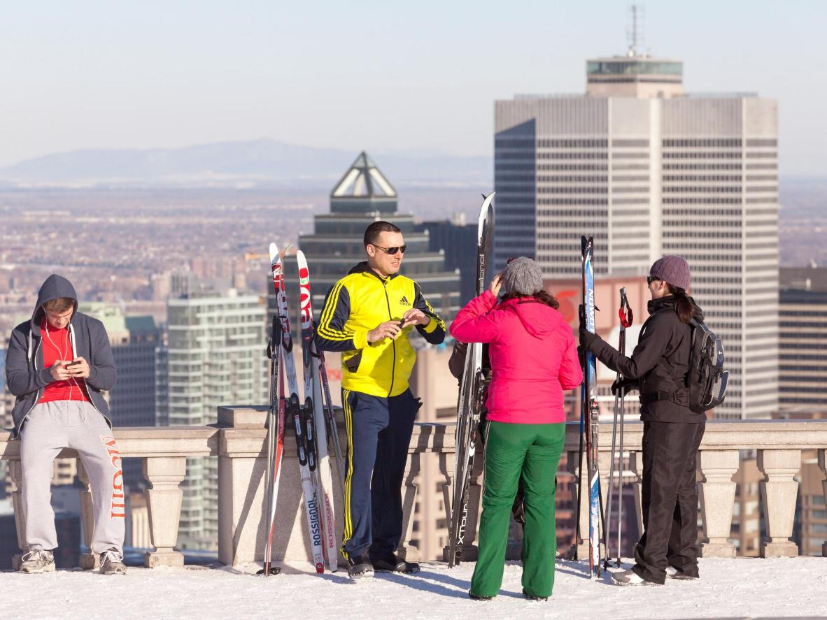 Skiiers at Parc du Mont-Royal in Montreal