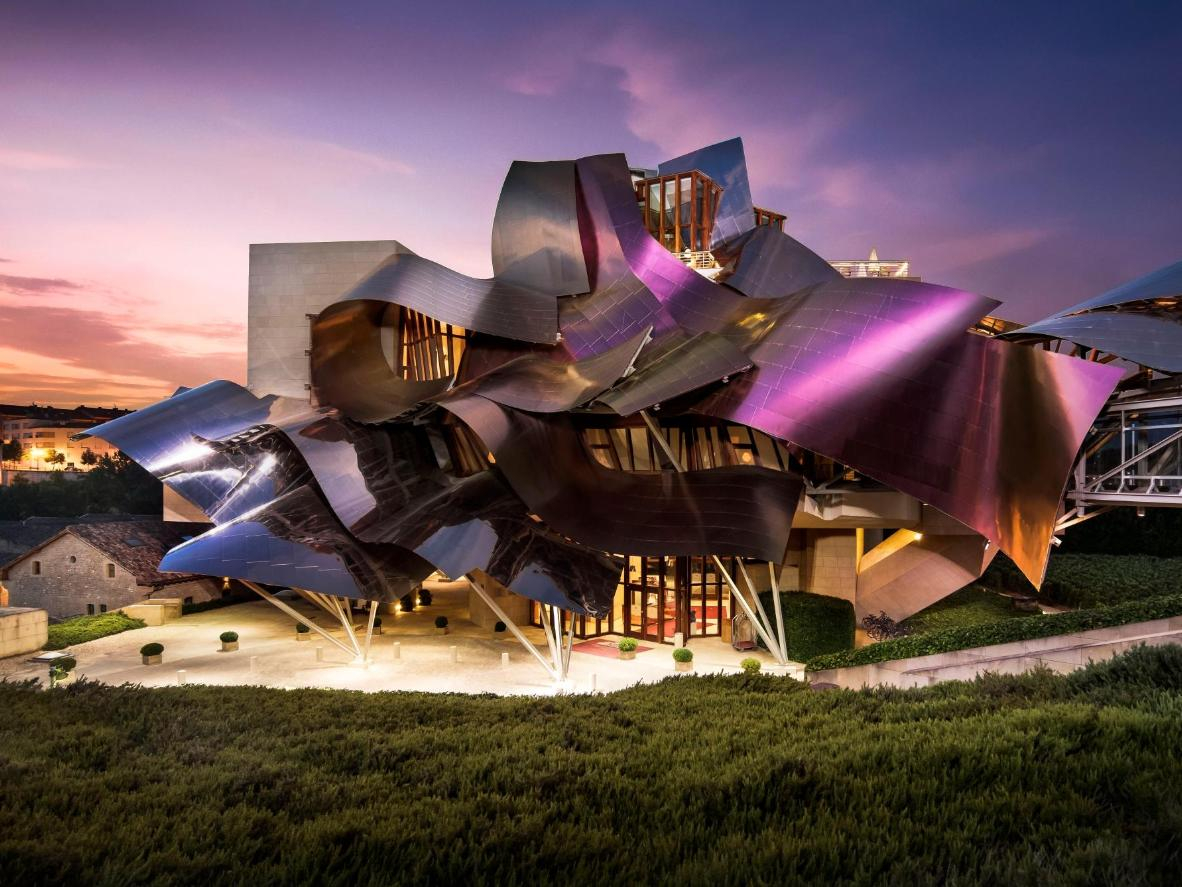 A futuristic hotel on a green hillside, Marqués de Riscal is a surreal and eye-catching structure
