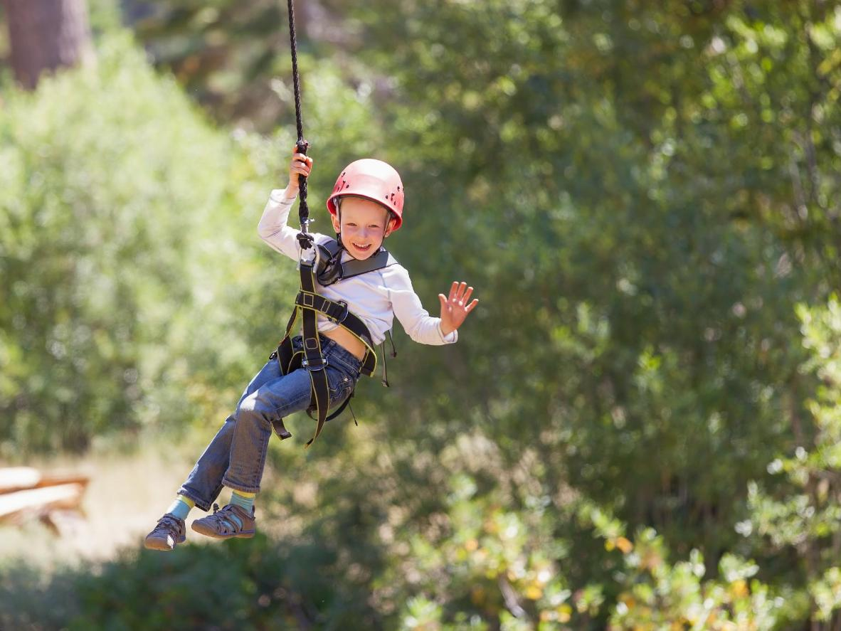 Zip-lining above the Avon Tyrrell Lakes