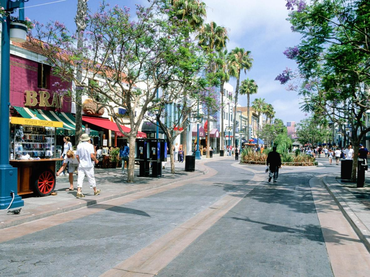 Stroll down Third Street Promenade in Santa Monica