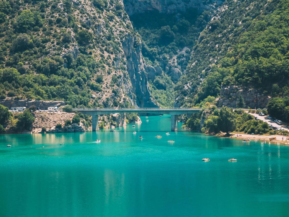 A bridge over the Lac de Sainte-Croix in south-eastern France, along the Route Napoleon