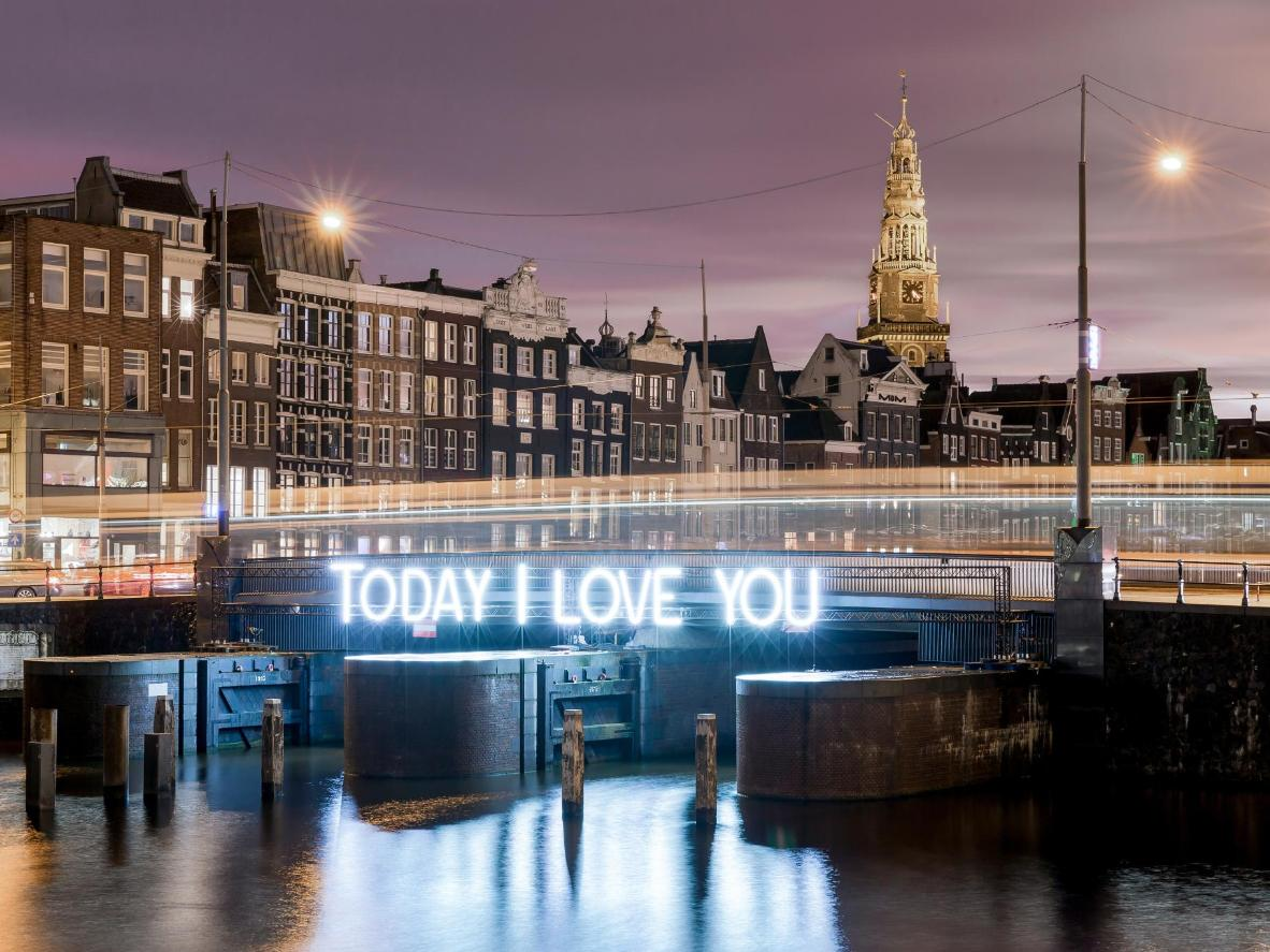 A light installation on Damrak in Amsterdam