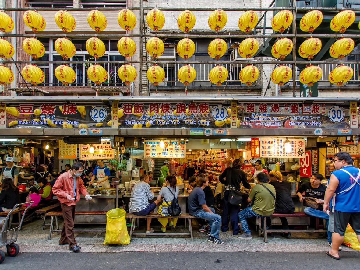 Food stalls at the Miaokou Night Market