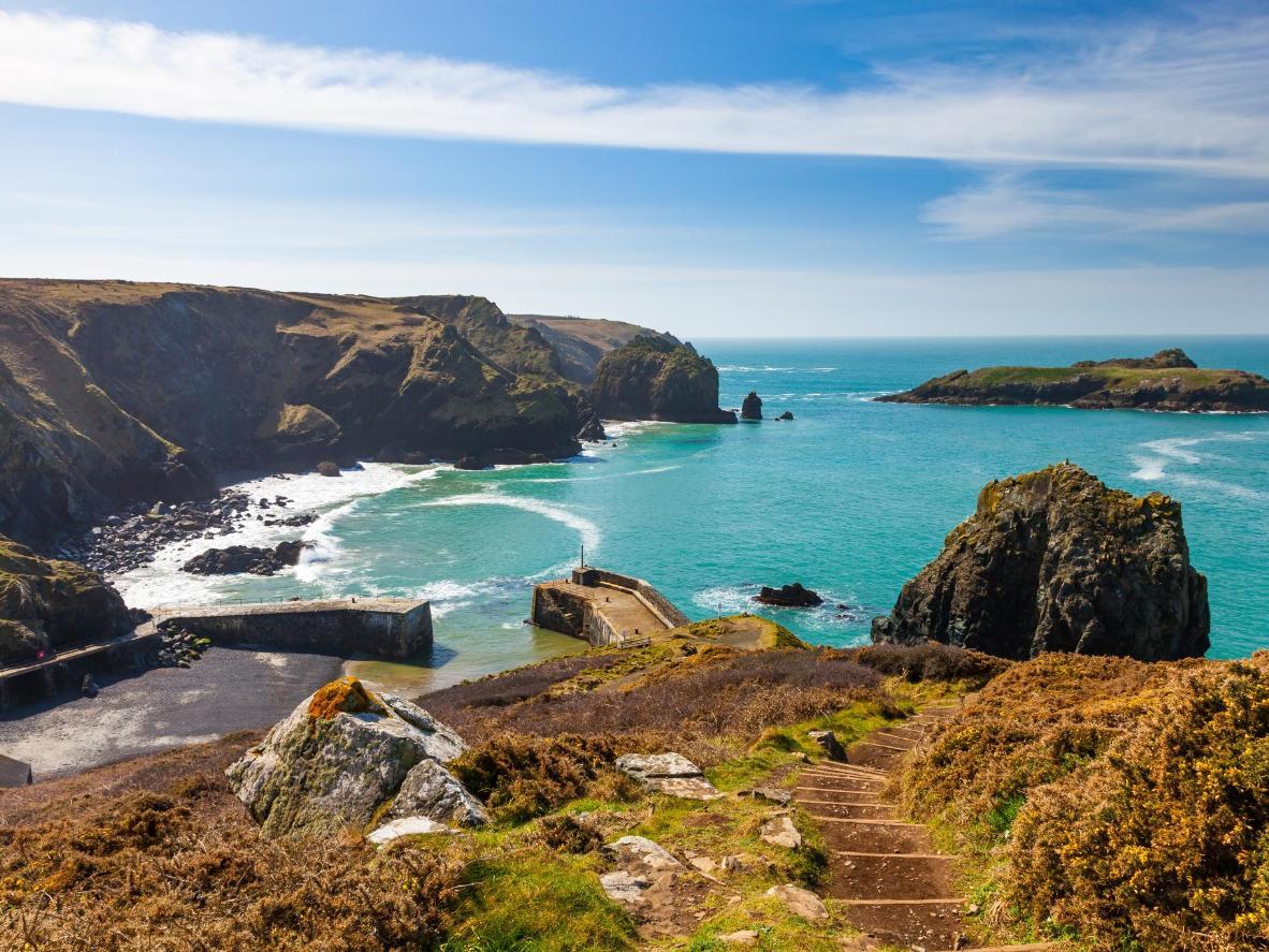 The view of Mullion Cove on the Cornish Lizard Peninsula