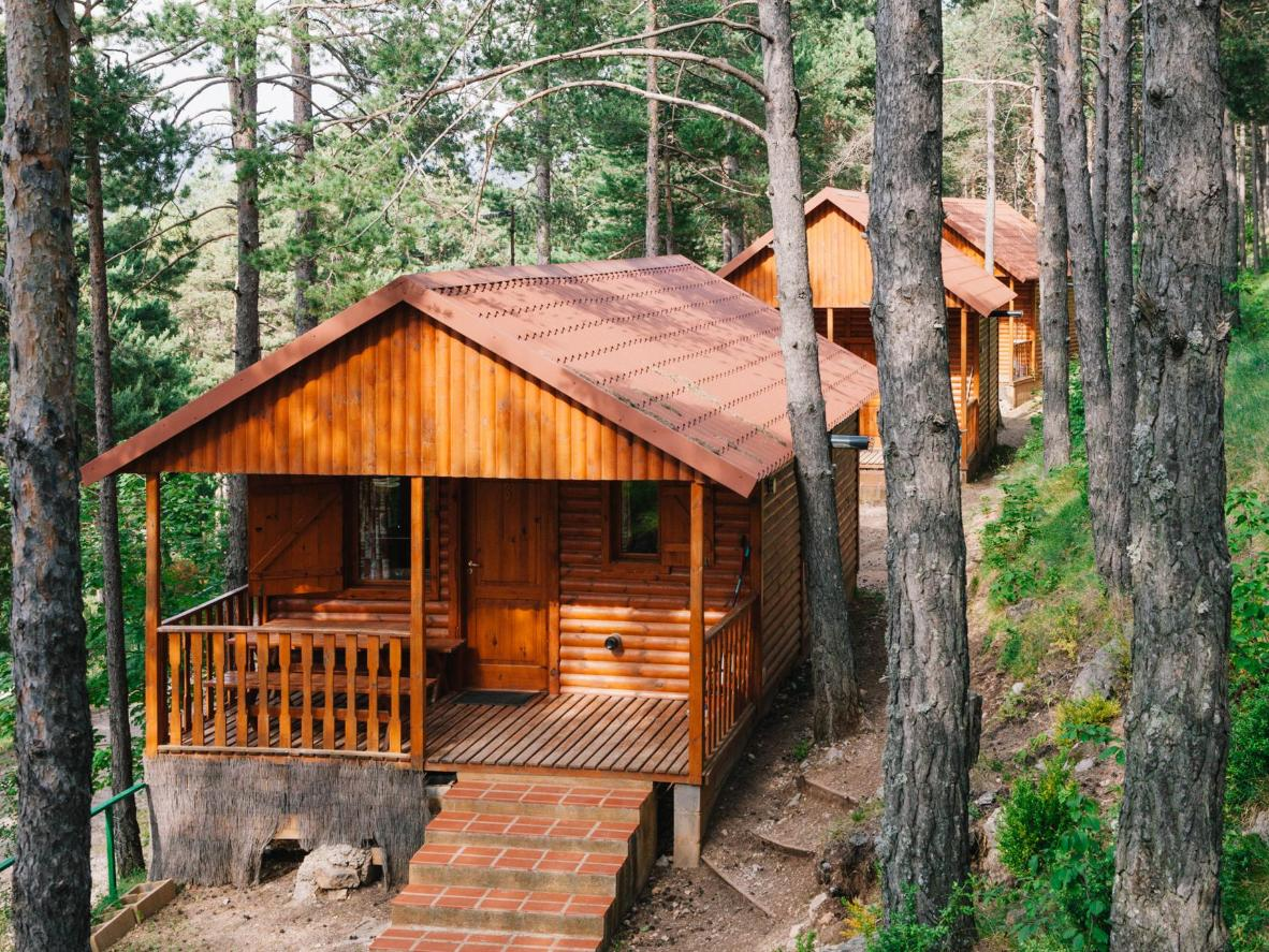 Every private wooden bungalow features views of Catalonias famous Pedraforca mountain
