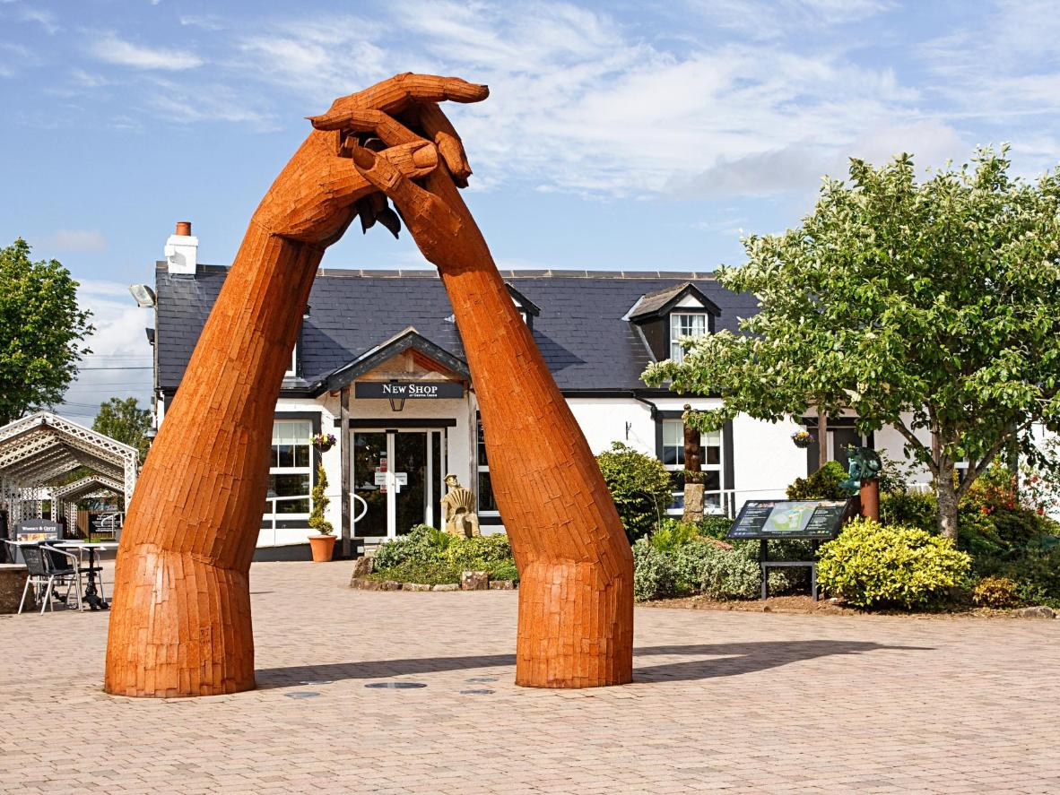 A sculpture in the courtyard of the Old Blacksmith Shop in Gretna Green