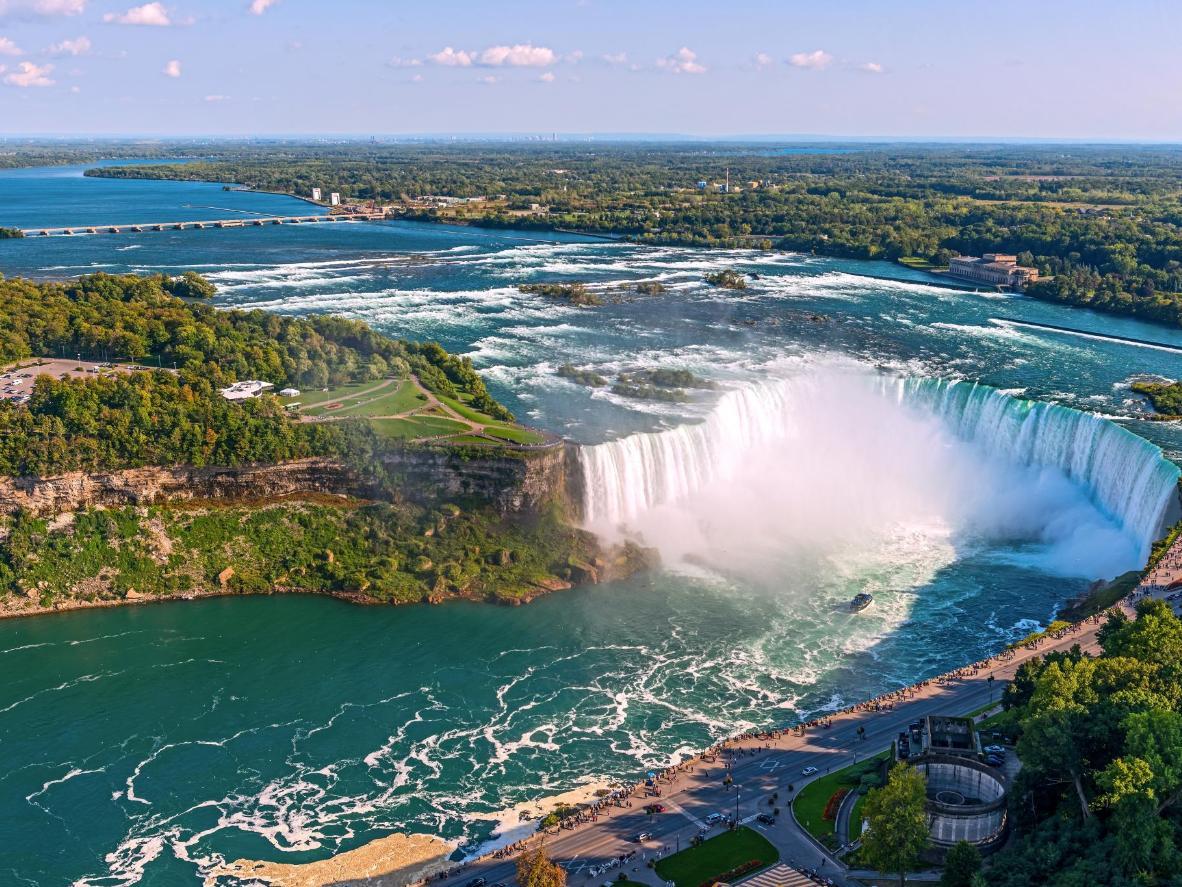 An aerial view of Niagara Falls from the Skylon Tower