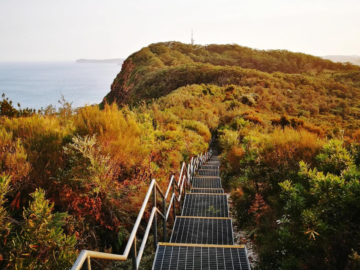 Hike through Wyrrabalong National Park before you're greeted by clifftop views of Bateau Bay