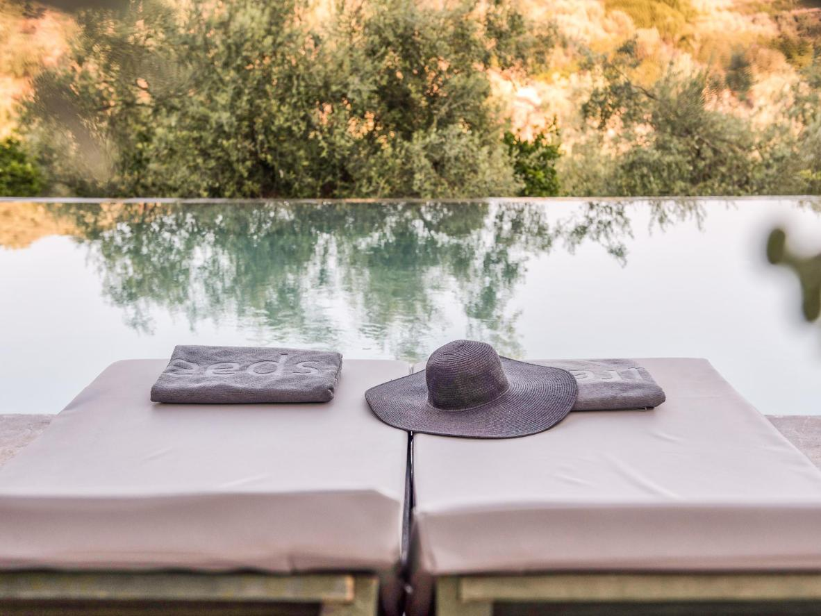 Relax by the pool after a day spent helping with the harvest