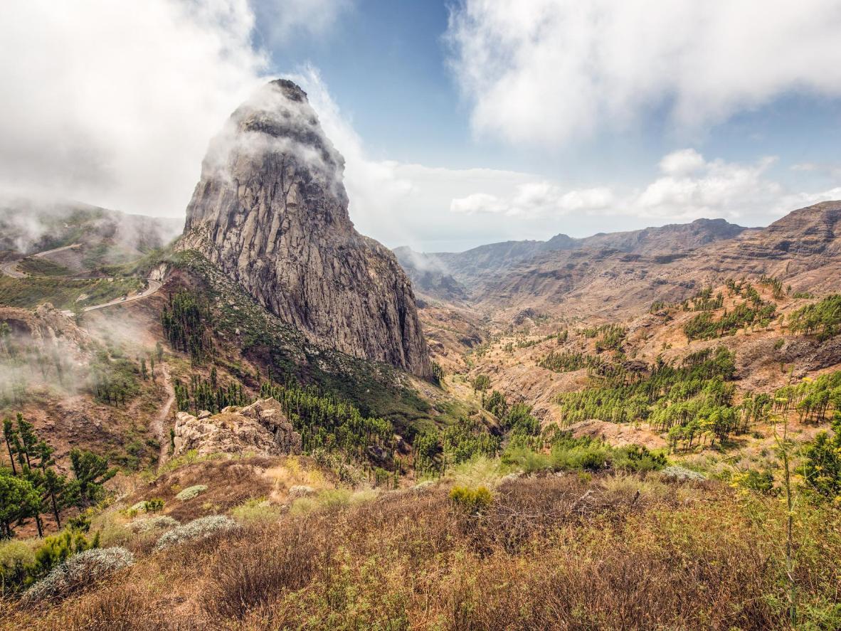 The Roque de Aganda is a massive volcanic monolith