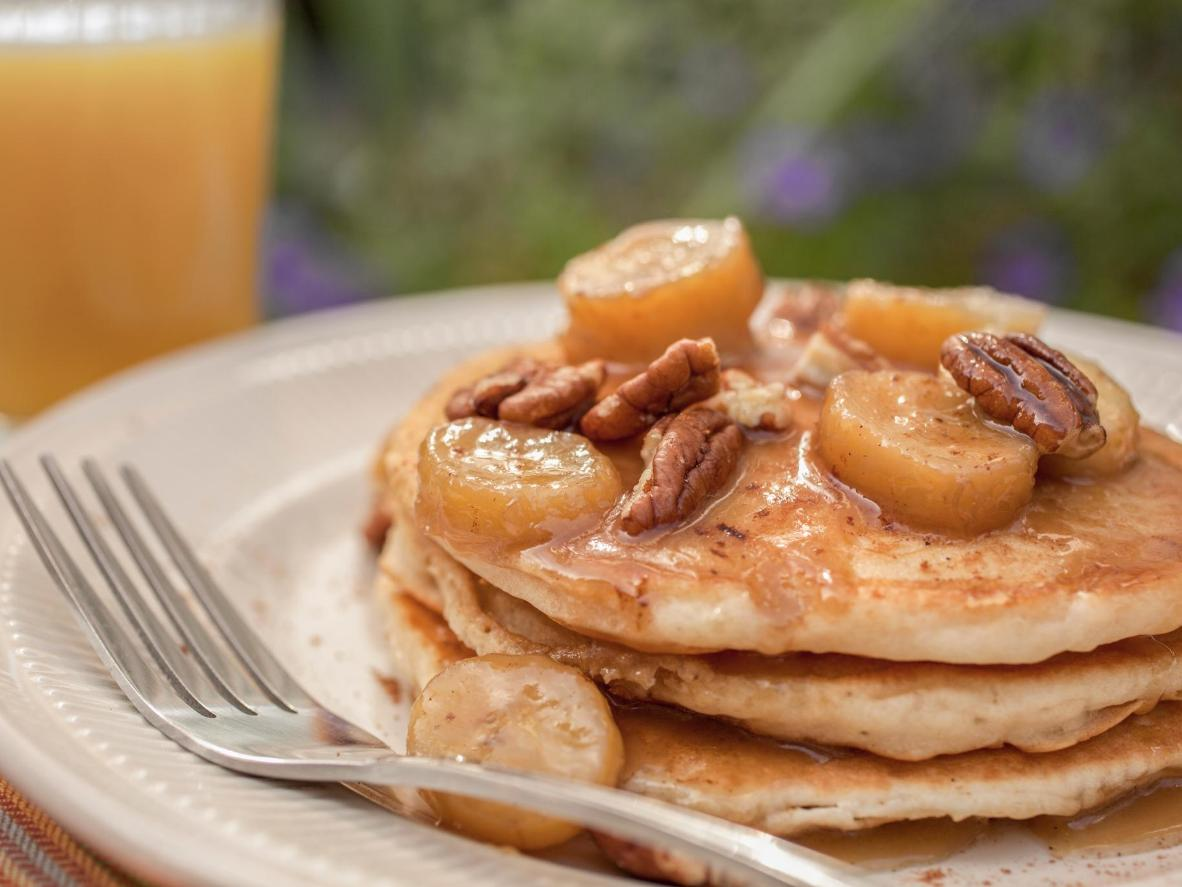 Try 'The Gold Rush' pancakes, topped with banana, nuts and streusel