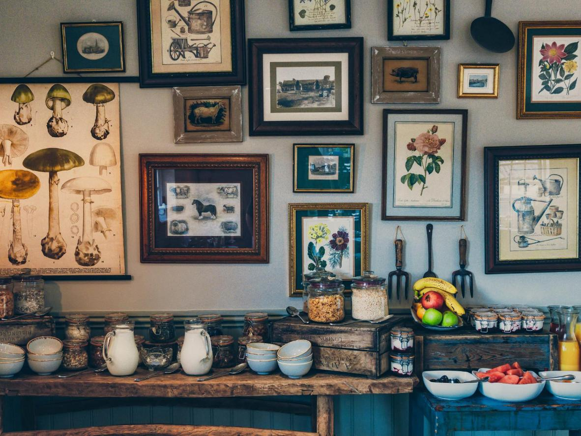 The stylish breakfast room is right next to the cottage gin bar