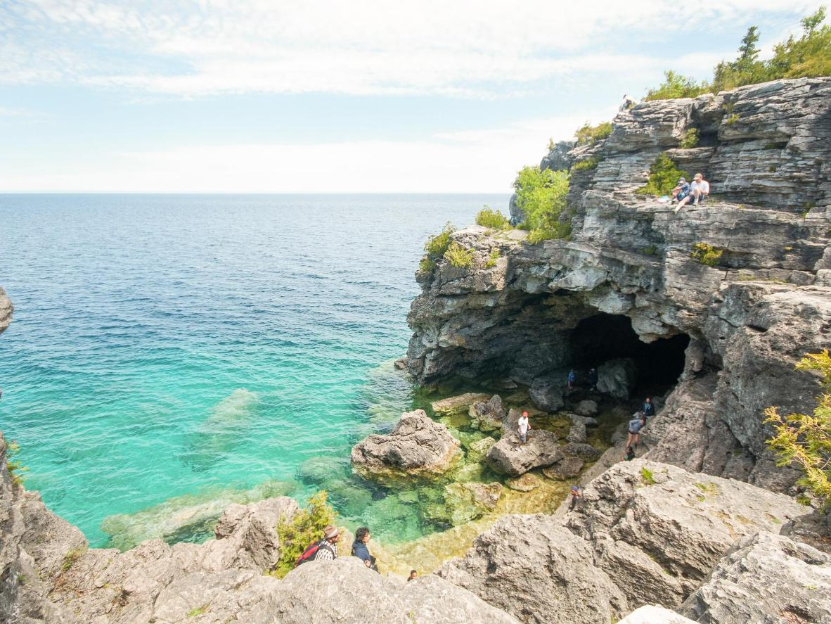 The sea-sculptured overhang at The Grotto in Bruce Peninsula National Park