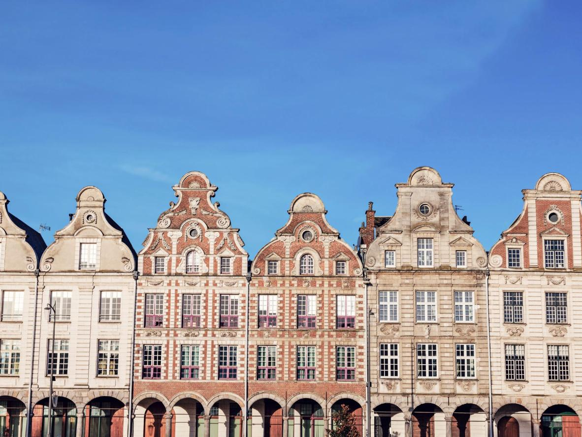 Flemish-baroque style wooden townhouses in Arras