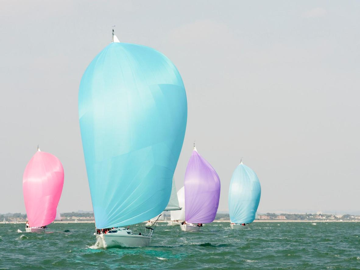 Colourful spinnakers are a frequent sight on racing yachts
