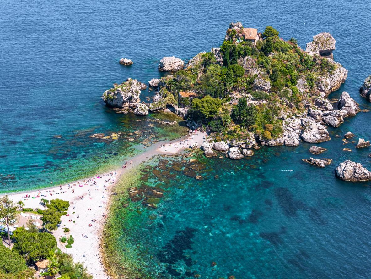 Isola Bella is a small island just off the coast of Taormina