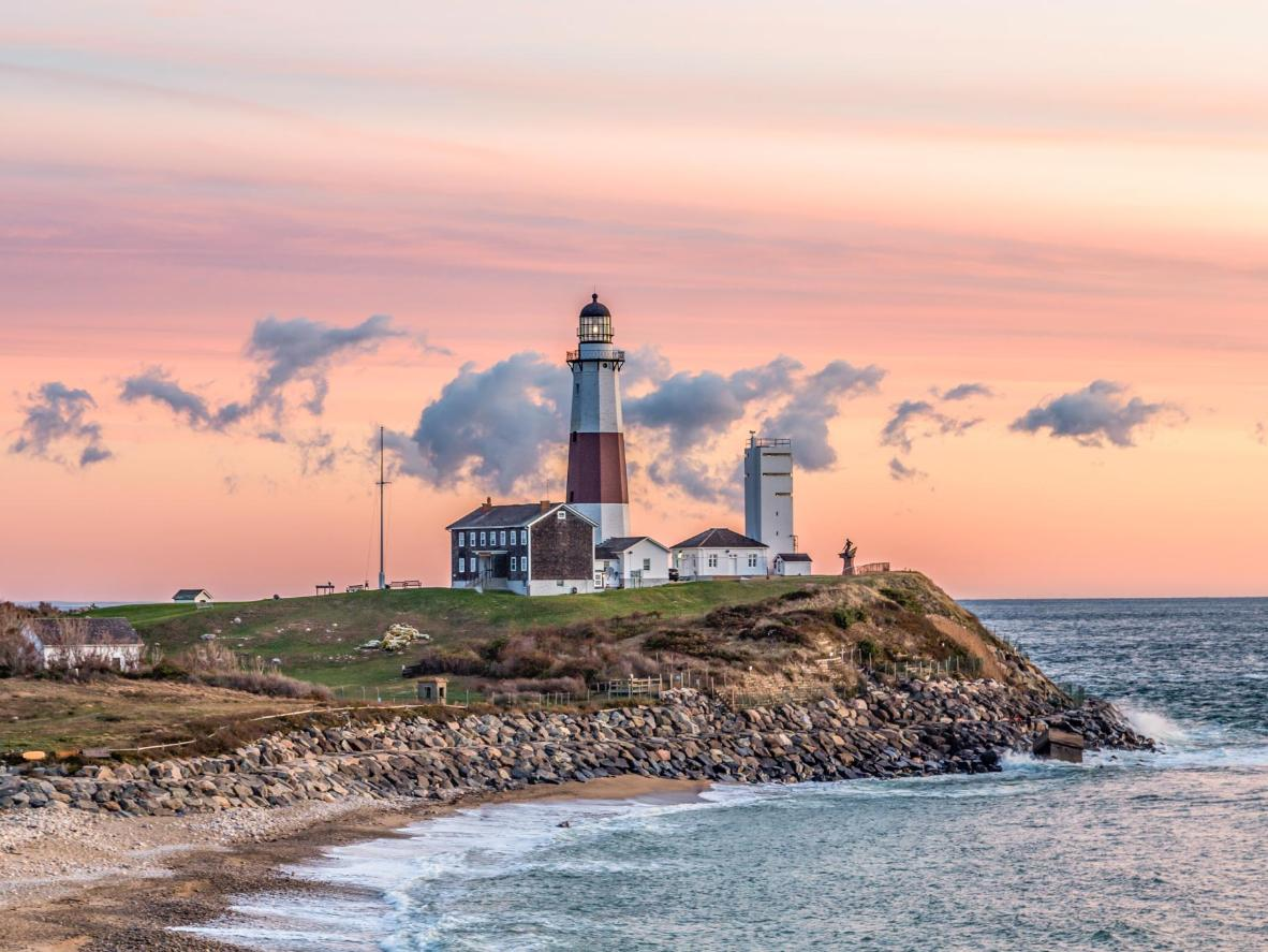 Take in stunning sunset views from the Montauk Lighthouse