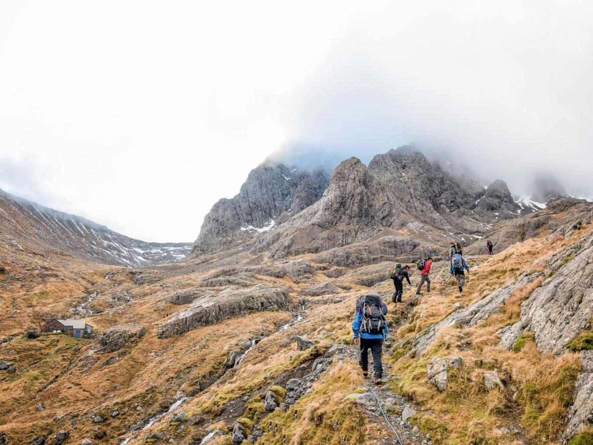 Climbing the misty, rocky slopes of Ben Nevis, Britain's highest peak