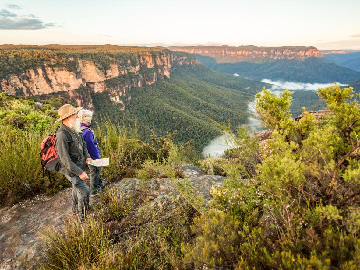 Plateaus of sandstone cliffs clad in dense gum trees, waterfalls and plunging gorges just an hour from Sydney