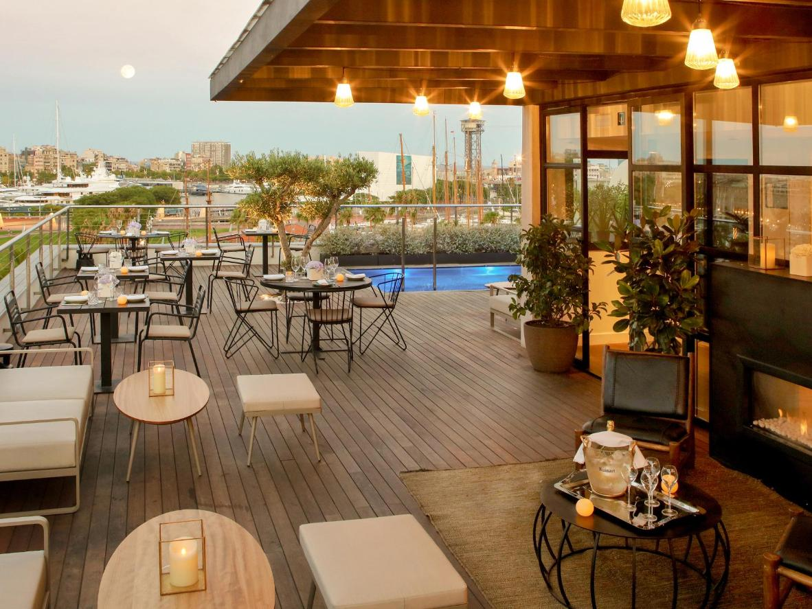 Sip cocktails on the olive tree-fringed terrace