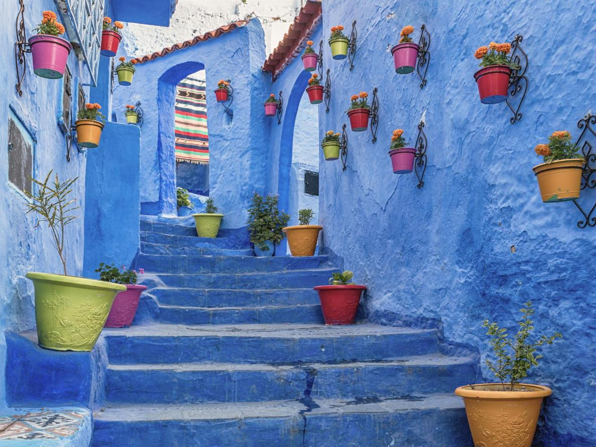 Painted in a deep blue, Chefchaouen has magnetic visual appeal