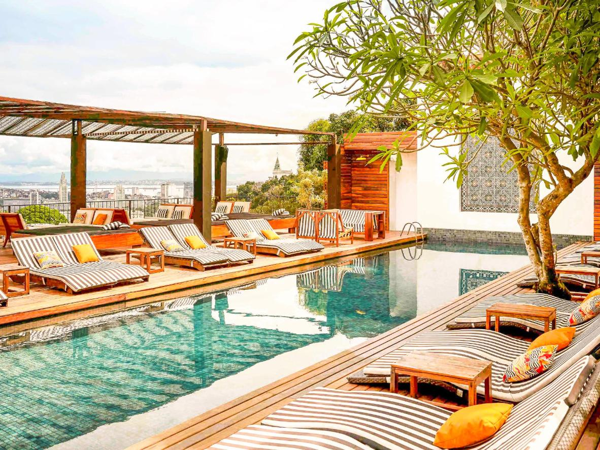 An unusual inner-city calm prevails in the rooftop garden of this boutique hotel
