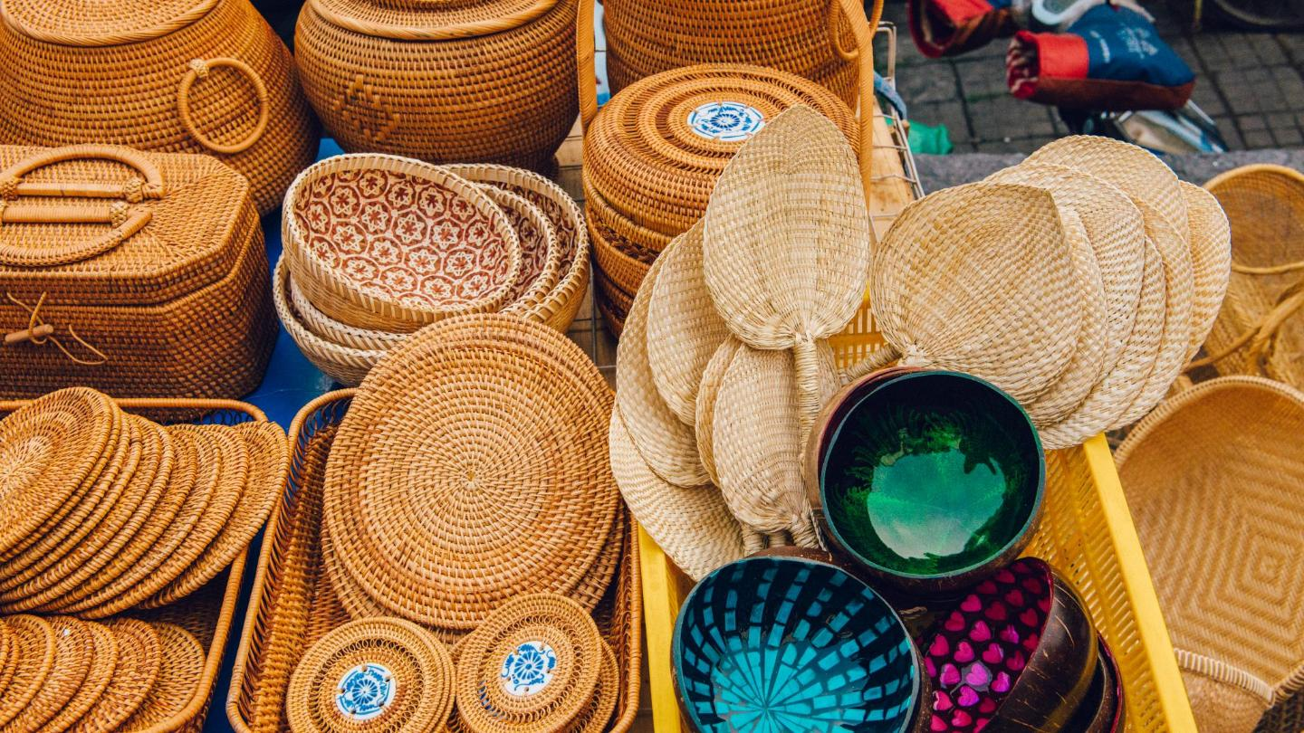Bamboo is a common material for making traditional baskets and fans