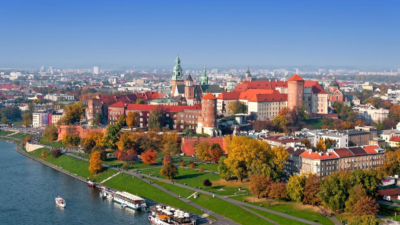 The Vistula River flows past Wawel castle in Kraków