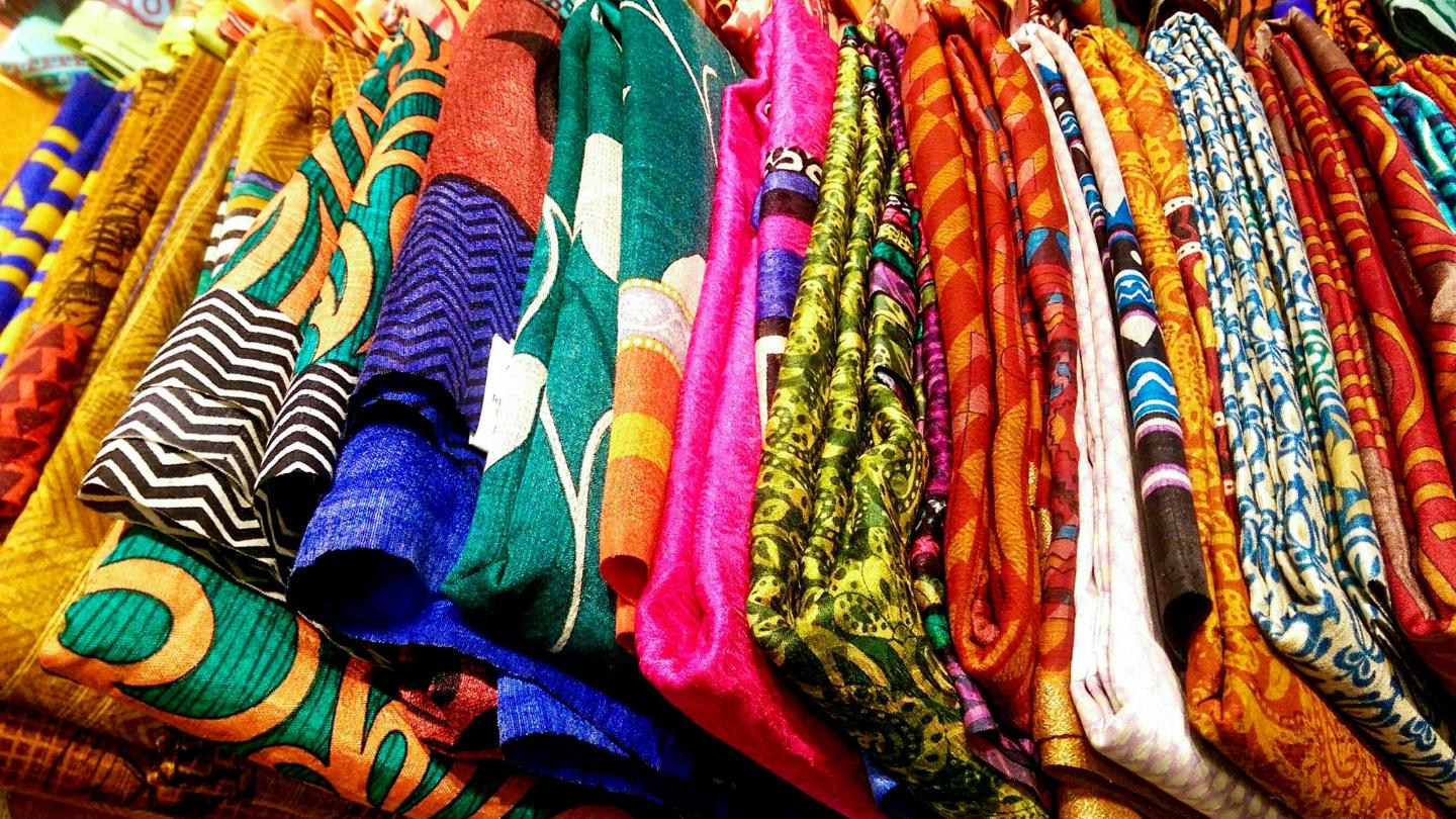 Silk saris on sale in the Bangalore shopping district