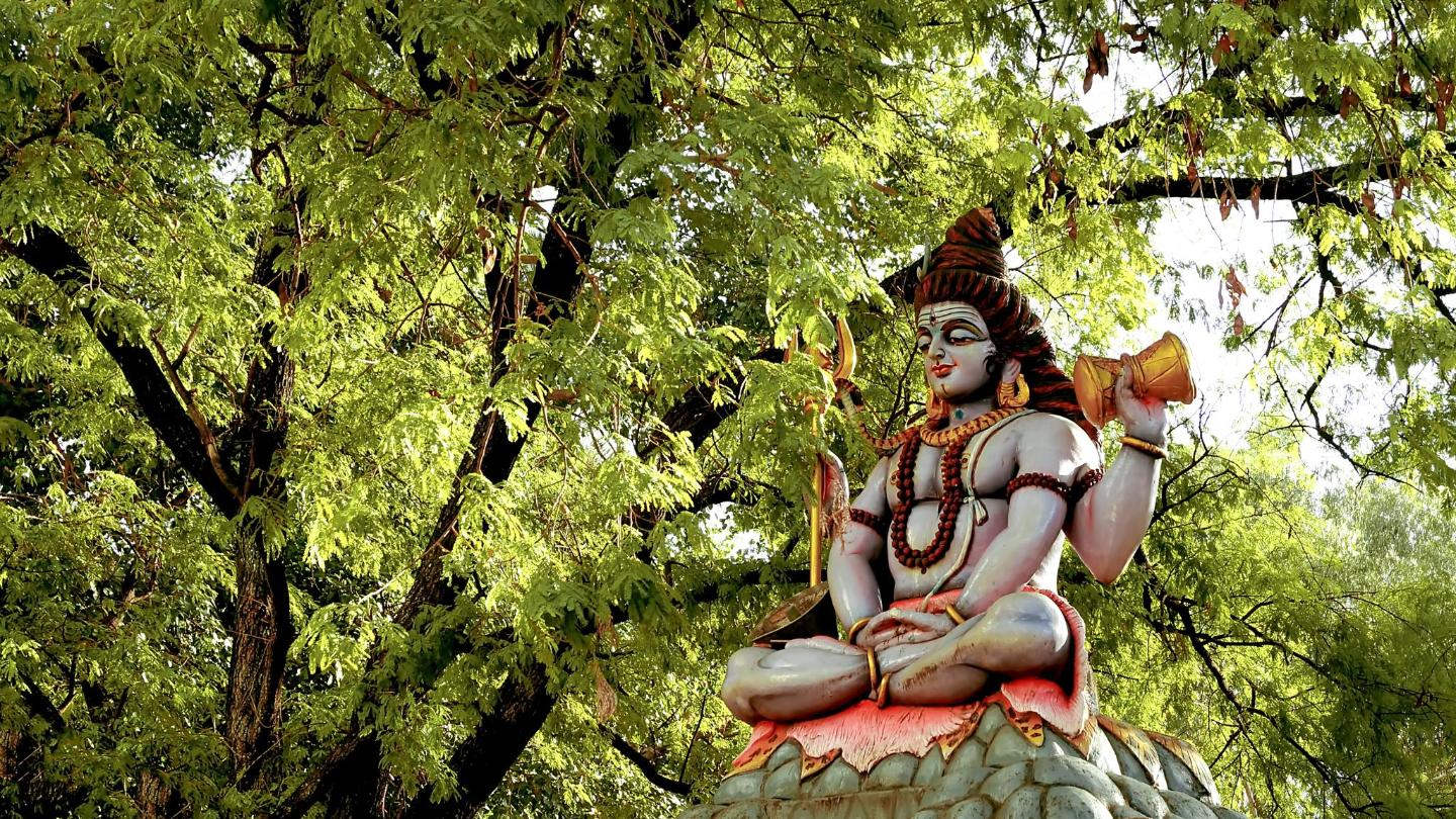 A statue of Lord Shiva meditating
