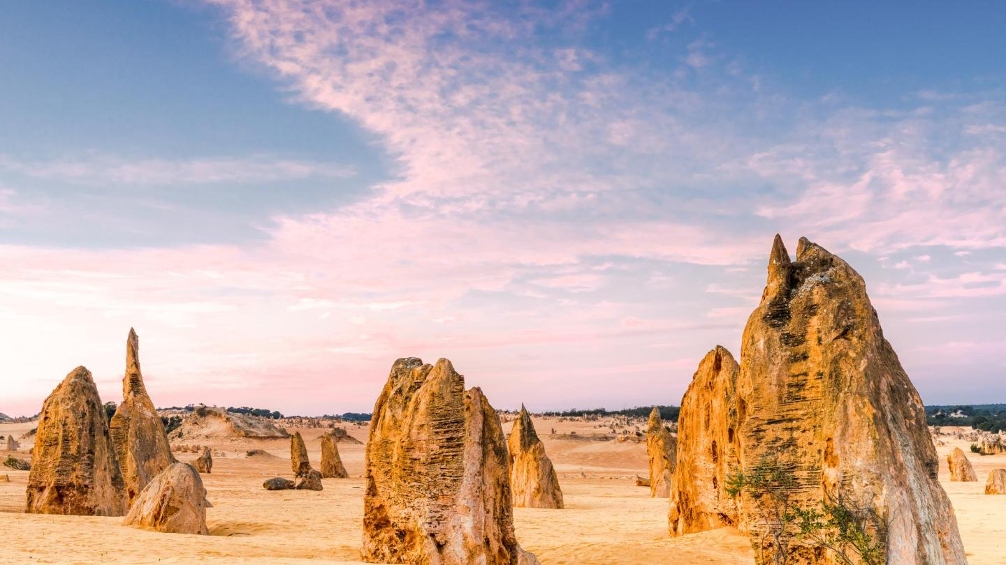 Jagged, honeycomb-like spires of sandstone stand amid the desert in Western Australia